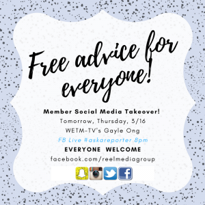 Reminder! Tonight @gayleong will host a session on our REEL MEDIA GROUP FB Page … follow up 1-