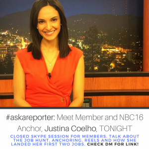 Hi Members! Tonight member and NBC16 anchor, Justina Coelho, will be hosting an #askareporter. This